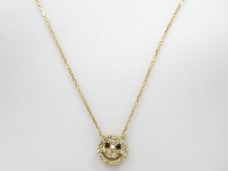 可愛いスマイルデザインのダイヤモンドネックレス☆ K18ダイヤ ネックレス 0.15ct イエローゴールド ニコちゃんの画像