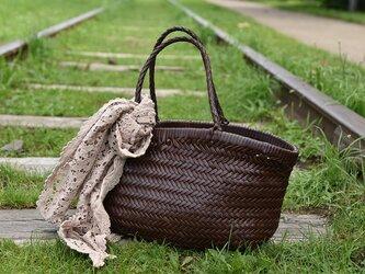 【受注製作】新作・手編み牛革ショルダトートバッグしっかりとした編み込み FB246の画像