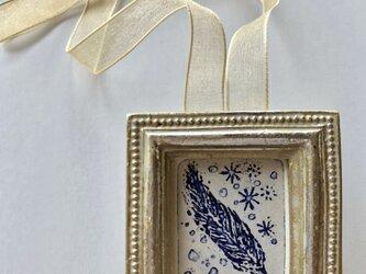 プチ版画「blue feather」の画像