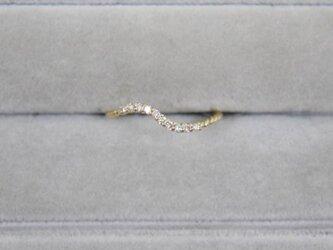 【受注生産】K18YG ダイヤ リング 0.1ct イエローゴールド YG 18K 華奢 ダイヤモンド S字 エタニティの画像