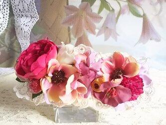 **irodoru*秋桜の唄。。*ピンクローズと秋桜のフレンチデザインのフラワーバレッタの画像