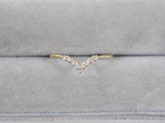 【受注生産】K18YG ダイヤ リング 0.1ct イエローゴールド YG 18K 華奢 ダイヤモンド V字の画像