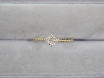 【受注生産】K18YG ダイヤ リング 0.1ct イエローゴールド YG 18K 華奢 ダイヤモンド スクエア 四角の画像