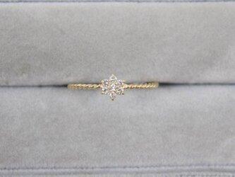 【受注生産】K18YG ダイヤ リング 0.1ct イエローゴールド YG 18K 華奢 ダイヤモンド お花 フラワーの画像