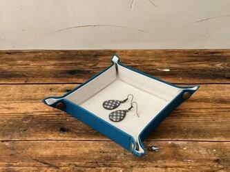 受注制作  帆布で作ったマルチトレイ   ミニ    セルリアンブルーの画像