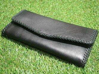 ♪レザーレースロングウォレット 長財布 小銭収納楽々スタイル ブラック♪の画像