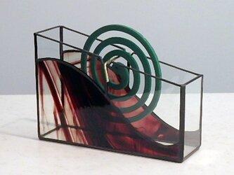 ステンドグラスの蚊取り線香ホルダー (濃赤)の画像