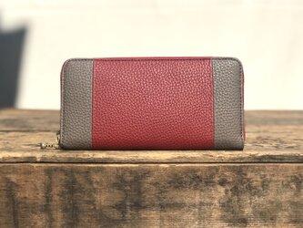 ウンドファスナー 財布   / レッド × グレーの画像