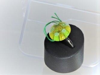 【ガラス】リング・ミルフィオリ円♪黄緑の画像
