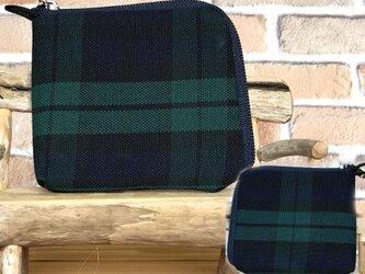 【薄い倉敷帆布財布】カード・お札・小銭一括収納   黒系格子 紺ファスナーの画像