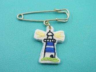 灯台刺繍ブローチ【青】の画像