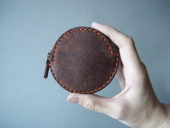 イタリアンレザーの丸コインケース ブラウンの画像
