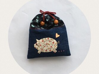 倉敷の藍染ブタさん巾着(1)の画像