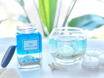 【2点セット】beach lighting 海キャンドルホルダー& sea luxury aroma candleの画像