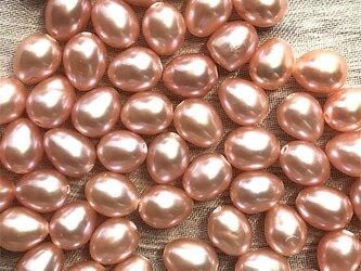 小粒 淡水パール 10粒 6mm オレンジ系 ライス 素材 パーツ 材料 ルース バラの画像