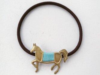 馬ヘアゴム(緑)の画像