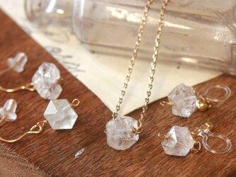 【2点セット】14kgf天然石ハーキマーダイアモンド ピアス ネックレスの画像