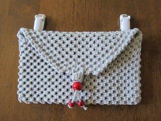 マクラメ編み~大人の移動ポケットちょっと大きめ・グレーの画像