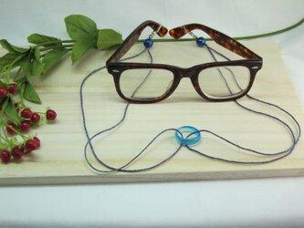 ブルー瑪瑙眼鏡ラメ入シルクホルダー 六色レインボーの画像