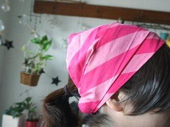 ピンクストライプ柄ヘアターバンの画像