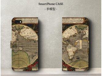 【ヴィンテージ世界地図】スマホケース手帳型 iPhoneⅩ Galaxy S9 S8 全機種 対応 絵画の画像