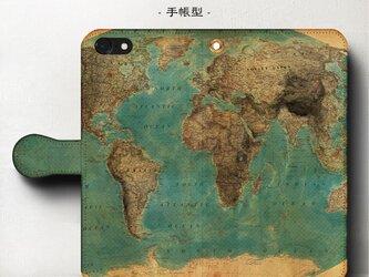 スマホケース【ヴィンテージ世界地図】 手帳型 iPhoneⅩ Galaxy S9 S8 全機種 対応の画像