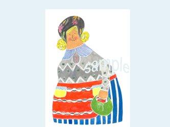 [A¥480] ポストカード¥3枚set :008番 「女の人」の画像