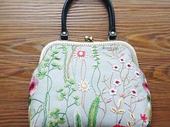 【受注製作】花刺繍 手持ちトートバッグ ・がま口ハンドバッグの画像