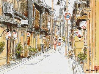 京の水彩画 A4サイズ 「初夏の舞妓さん」の画像