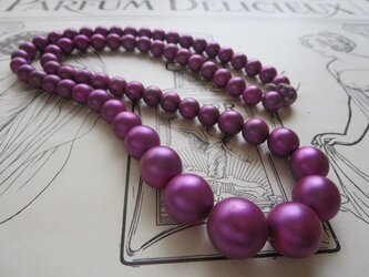 *♥*German Vintage Glass Pearls Fuchsia Satin 1連*♥*の画像