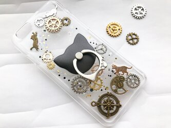 iPhoneX iPhone8/7/6/6s 歯車 宇宙柄 スマホケース 猫 月 星 選べる スマホリング iPhoneケースの画像