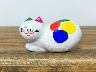 木彫り猫 カラフルの画像