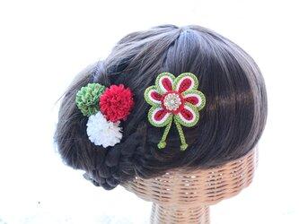 小さな花の組紐飾り 選べるマム3個セット 成人式 卒業式 結婚式 七五三 浴衣の画像