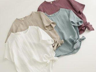 【受注製作】可愛綿麻製ゆったりトップス・ブラウス0987 4色入の画像