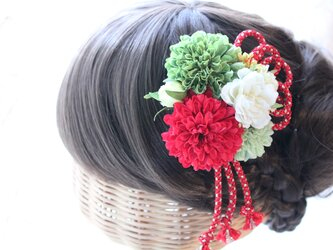 金糸入りループリボン付き髪飾り 成人式 結婚式 卒業式 七五三 浴衣の画像