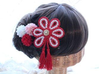 タッセル付き花の組紐飾り 選べるマム3個セット 成人式 卒業式 結婚式 七五三 浴衣の画像