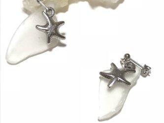 海からの贈り物 ミルキーホワイト シーグラス×スターフィッシュ ピアス ポストタイプの画像