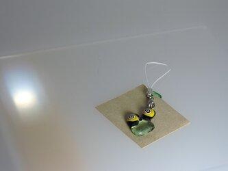 【ガラス】ストラップ♡クリアグリーン黄渦の画像