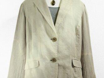 麻のサマージャケット(斜め絞り染・ベージュグレー色濃淡)の画像