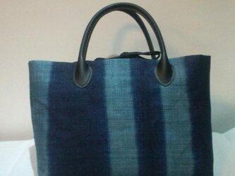 麻 藍染めバッグの画像