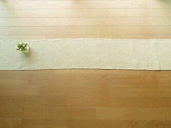 木綿糸と麻糸の手織りテーブルランナー 140cm(8)の画像