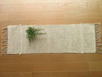 リネンと綿麻の手織りテーブルセンター 77cm(12)の画像
