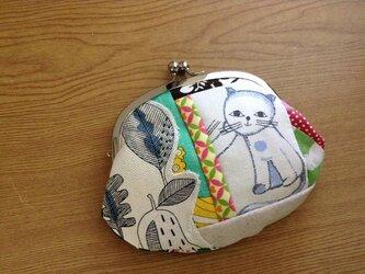 レトロ猫×パッチワーク - がま口ポーチの画像