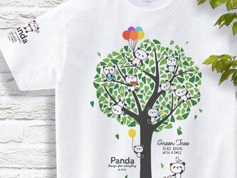 パンダと緑の木(Panda & Green Tree)  Tシャツ 150.160.S〜XLサイズ【受注生産品】の画像