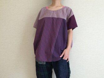 フレンチスリーブのゆるTシャツ015(ボルドー系)の画像