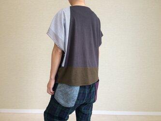 フレンチスリーブのゆるTシャツ016(グレー×カーキ)の画像