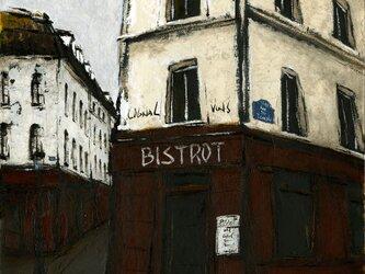 風景画 パリ 油絵「街角のビストロ」の画像