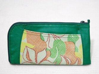 ハーフラウンド型 長財布(グリーン×花柄ピッグ)の画像