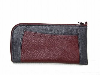 ハーフラウンド型 長財布(グレー×ワインレッド)の画像