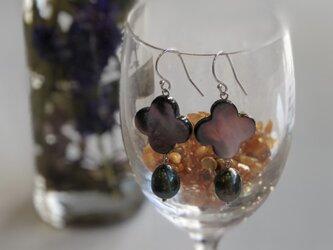 SV南洋黒真珠&黒蝶貝シェルピアスの画像